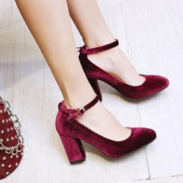 burgundy womens dress shoes 2019 - Lady's Concise Elegant Ankle Strap Flock High Heels Pumps Dress Office Womens Block High Heel Shoes Woman Plus Size