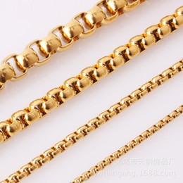 Bulk Stainless Chain Australia - 3mm60cm 10pcs Wholesale In Bulk Gold Tone Stainless Steel Box Chain Necklace for Match Pendant