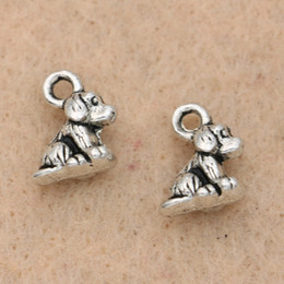 Dog Plates Australia - Cheap Charms 20pcs Tibetan Silver Plated Dog Charms Pendants Handmade Jewelry Diy Jewelry Making Bracelet Craft 10x8mm