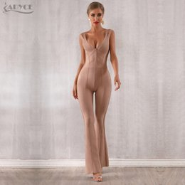celebrity party jumpsuits Australia - Adyce 2019 New Summer Women Bandage Jumpsuit Romper Sexy V Neck Backless Sleeveless Long Jumpsuit Celebrity Evening Party Romper Y19060501