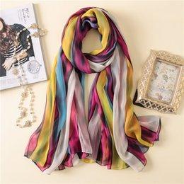 bdd5ece25 2018 New Women Elegant Stripe Print Silk Scarves Shawls High Quality Soft  Silk Muslim Wrap Hijab Foulard Muffler Free Shipping