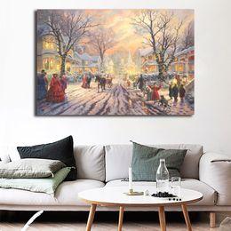 $enCountryForm.capitalKeyWord Australia - Cute Victorian Houses Christmas Art Thomas Kinkade Magical Christmas Paintings on Canvas Modern Art Decorative Wall Pictures Home Decoration