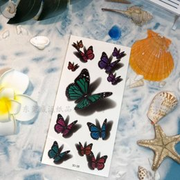 Discount 3d sticker flowers 3D Temporary Tattoos Three-dimensional Color Printing Tattoo Sticker Butterfly Flower Body Art Waterproof Temporary Tatt