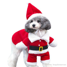 Wholesale santa costume female for sale – halloween Christmas Pet Dog Costumes Santa Claus Cosplay Dogs Cats Clothing Pet Christmas Decor Costume Puppy Winter Warm Xmas Red Clothes BH0309 TQQ