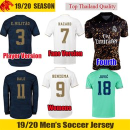 Real madRid fans online shopping - 19 HAZARD Real Madrid soccer jersey th Kit BALE Fans Player version BENZEMA JOVIC Football Kit Uniforms MENDY Long Jersey