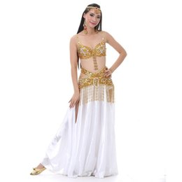 $enCountryForm.capitalKeyWord Australia - Belly Dance Bra And Belt Sets Long Skirt White Bellydancing Stage Performance Oriental Belly Dancing Clothes Bellydance Costume