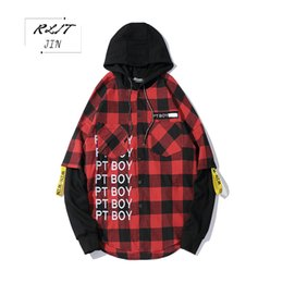 hip casual clothes Canada - RLJT.JIN 2019 Winter thick fashionable streamers of men's clothing High quality casual hip hop street man plaid hooded shirt