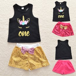 $enCountryForm.capitalKeyWord Australia - 2 colors Summer Girls Vest+Shorts 2 Piece Sets Unicorn Outfits Sleeveless T-shirt Sequins Pants kids designer clothes girls DHL JY148
