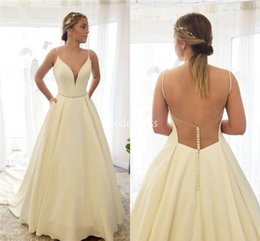 Satin Spaghetti online shopping - Modern Wedding Dresses For Bride Spaghetti Illusion Backless A Line Sweep Train Country Style Bridal Gowns Simple Vestidoe De Noiva Custom