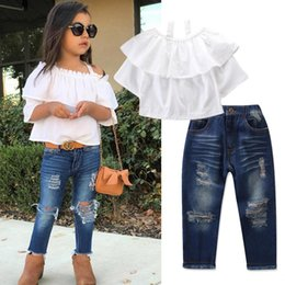 tops girl shirt design Canada - Baby girls design outfits white suspender top t-shirt+denim pnats 2pcs clothing set children Destroyed Jeans boutiques clothes
