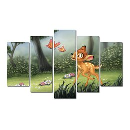 $enCountryForm.capitalKeyWord UK - 5 Pcs Combinations HD Cartoon Cute Butterfly Fawn Deer Wood Pattern Unframed Canvas Painting Wall Decoration Printed Oil Painting poster