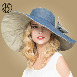 e2ff522aee544 wholesale Foldable Large Wide Brim Floppy Sun Hats For Women Summer Beach  Hat With Bowknot Gorras Gray Pink Blue Girls Visor Caps
