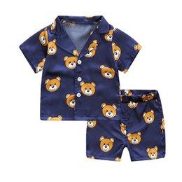 Yellow children pajamas online shopping - kids summer pajamas summer girls clothes set cute bear print children clothing gir clothes tshirt shorts boys
