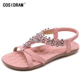 3a03b8f084135 COSIDRAM New Woman Shoes Female Sandals Bohemian Comfortable Flat Summer  Woman Sweet Rhinestone Shoes Plus Size 41 42 SHE-065