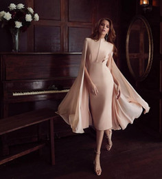 pictures celebrities NZ - 2020 Elegant Evening Dresses Guest Dress Batwing Sleeve Knee Length Luxury Celebrity Runway Dress Arabian Robes Real Pictures