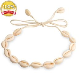 $enCountryForm.capitalKeyWord Australia - Shell Necklace Cowrie Shell Choker Natural Summer Beach White Velvet Adjustable Conch Shell Necklace Jewelry acc029