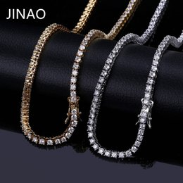 """$enCountryForm.capitalKeyWord Australia - Jinao Gold silver rosegold Color Iced Out Chain Hip Hop Copper Micro Pave Czstone 3 5mm Tennis Chain Necklace With 18""""20""""22""""24"""" J190712"""
