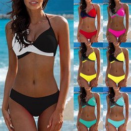 mixed swimwear UK - 7 Colors Womens Padded Push-up Bra Tankini Bikini Set 2019 Swimsuit Low Waist Bathing Suit Swimwear Two Pieces Halter Beachwear