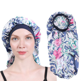 satin cap wholesalers NZ - Night Sleep Bonnet for Long Hair Soft Comfortable Satin Dreadlock Cap Flower Print High Elastic Head Wear Women Headwrap Turban