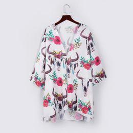 05623d3f9c Women Chiffon Shawl Print Floral Long Sleeve Kimono Cardigan Top Cover Up  Blouse Beachwear