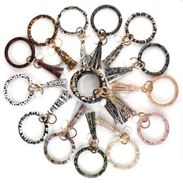 Leopard print jeweLry online shopping - Amorcome Multiful Snakeskin Leopard Circle Wristlet Keychain Animal Print Leather Bangles for Women Charm Key chain Jewelry