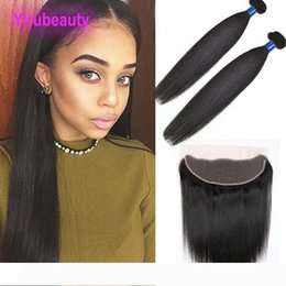 raw virgin hair bundles lace closure UK - Indian Raw Virgin Hair 2 Bundles With 13X4 Lace Frontal 3 Pieces lot Natural Black Straight Human Hair Extensions With Frontal Closure