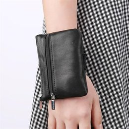 Wholesale Wrist Zipper Wallet Australia - Men Coin Purse Ladies Small Wallet Change Purses for Women Genuine Leather Wrist Bag Sleeve Mini Zipper Pouch with Key Holder