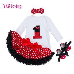 $enCountryForm.capitalKeyWord Australia - Infant Clothing 4pcs Sets White Long Sleeve Rompers Red Tutu Skirt Ruffle Pettiskirt Shoes Headband Baby Girls Clothes Yk&loving Y19061303