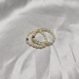Wholesale Freshwater Pearl Ring 3-4mm Oval Pearl Elasticity Ring S925 Sterling Silver Jewelry Fashion Designer for Women Wedding Gift 24pcs lot