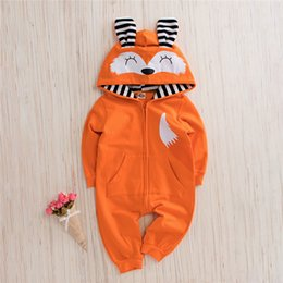 hooded headband Australia - Spring Fall INS Toddler Baby Boys Hoodies Rompers Hooded Jumpsuits Long Sleeve Cat Ears Fox Front Pockets Zippy Newborn Onesies for 0-2T
