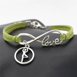 $enCountryForm.capitalKeyWord Australia - Designer Hand-woven Green Leather Suede Infinity Love Ballet Gymnastics Posture Chakra Yoga Wrap Bracelets & Bangles Men Women Charm Jewelry