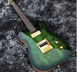 Wholesale In Stock ACEPRO Green Spalted Maple Electric guitar w piece Mahogany Abalone dots inlay Gold Hardware White Pearl Tuners