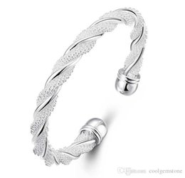 wholesale pure 925 silver bracelet NZ - Antique Pure 925 Sterling Silver Open Bangle Bracelet Girl