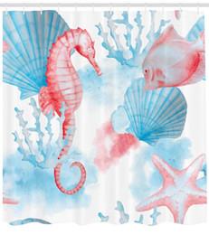 $enCountryForm.capitalKeyWord Australia - Sea Shells Seahorse and Fish Sandy Beach Exotic Stylized Watercolor Effect Print Shower Curtain Coral Blue White