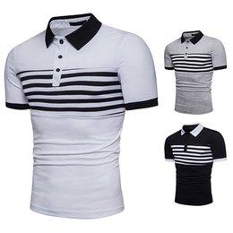 T-shirt Casual Masculina Novo com Costura Omega Stripe e Manga Curta e Em Torno do Pescoço em Promoção