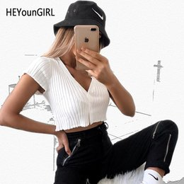cropped tees Australia - HEYounGIRL Elegant Sexy Deep V Neck Crop Top T Shirt Short Sleeve White Tshirt Woman Ruffles Casual Tee Shirt Femme Summer 2019