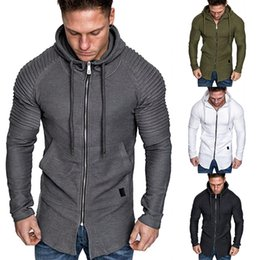 Wholesale black muscle shirt long sleeve online – design Mens Slim Fit Long Sleeve Shirts Hooded Muscle Tops Hoodie Casual Coat Jacket
