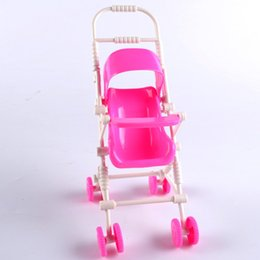 Toy Furniture Wholesale NZ - Pink Baby Stroller for Doll Toy Infant Kids Carriage Stroller Trolley Nursery Toy for Baby Girl's Dolls Furniture Girls Gifts