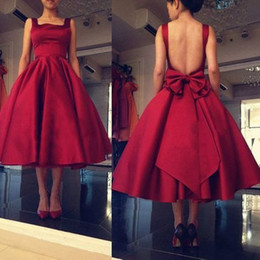 $enCountryForm.capitalKeyWord UK - Dark Red Square Neck A Line Prom Dresses Sexy Open Back Tea Length Satin Evening Gowns With Big Bow Tie For Formal Party A347