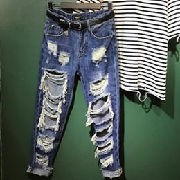 27ef0ee2a98 Plus Size 26-31!Autumn High Waist mom jeans Boyfriend Jeans Women Trousers  hole Denim tassel Ripped