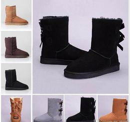$enCountryForm.capitalKeyWord Australia - HOT SALE Snow Winter Leather Women Australia Classic kneel half Boots Ankle boots Black Grey chestnut navy blue red Womens girl shoes #789