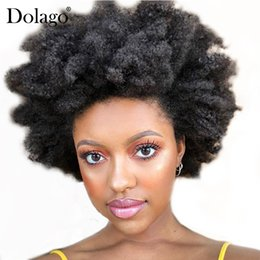 Kinky Curly Human Hair Afro Wigs Australia - Afro Kinky Curly Full Lace Human Hair Wigs For Women Black 130 Density Brazilian Glueless Full Lace Wigs With Baby Hair Dolago Remy
