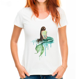 white shirt designs for women Canada - Women Fashion Watercolor Mermaid Design T shirt For Women Novelty Tops Lady Short Sleeve Tees White M-2XL