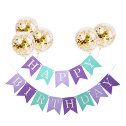 Birthday Banners kids online shopping - Christmas Happy Birthday Kids Letters Banner Shower Birthday Party Decorations Party Favors Set Baby Confetti Balloons Girl Boy Birthday