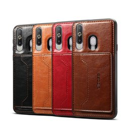 Samsung Cell Phone Holders Australia - For Samsung A60 Retro PU Leather Wallet Card Holder Stand Non-slip Shockproof Cell Phone Case