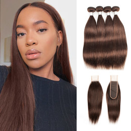 Light Brown Closure Australia - Color 4 Chocolate Brown Hair Weave Bundles With Closure 3 or 4 Bundles with 2x6 Lace Closure Peruvian Straight Remy Human Hair extensions