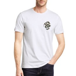 dragon t shirt xxl Canada - Wholesale T Shirts For Men Funny t shirts Dragon Summer Clothing Male Tops Tees White Plus Size M L XL XXL XXXL 150pcs