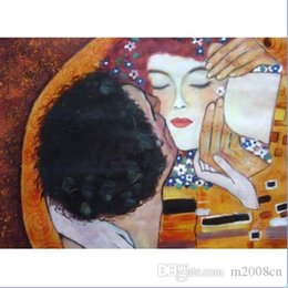 gustav klimt paintings NZ - Gustav Klimt The Kiss Close up Handpainted Abstract Portrait Art oil painting Home wall Decor On High Quality Canvas Multi Size p12