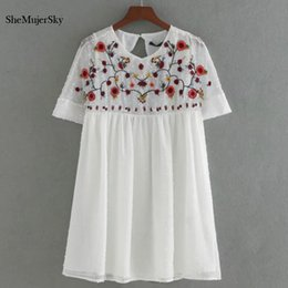 Jumpsuits Suits Australia - Shemujersky White Chiffon Playsuits Embroidery Jumpsuit Women Summer Rompers Women's Suit Q190524