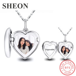 love lockets lovers Australia - SHEON Personalized Engraved Photo Heart Locket Necklace 925 Sterling Silver Love Heart Necklace for Lover Anniversary Gift